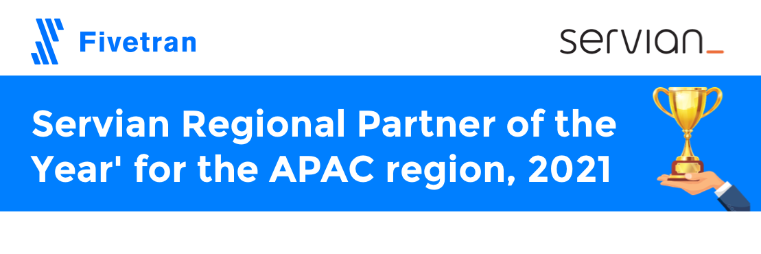 Servian Fivetran Regional Partner of the Year 2021